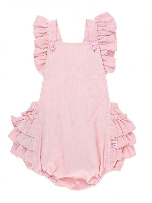 Ballet Pink Corduroy Flutter Overall Romper