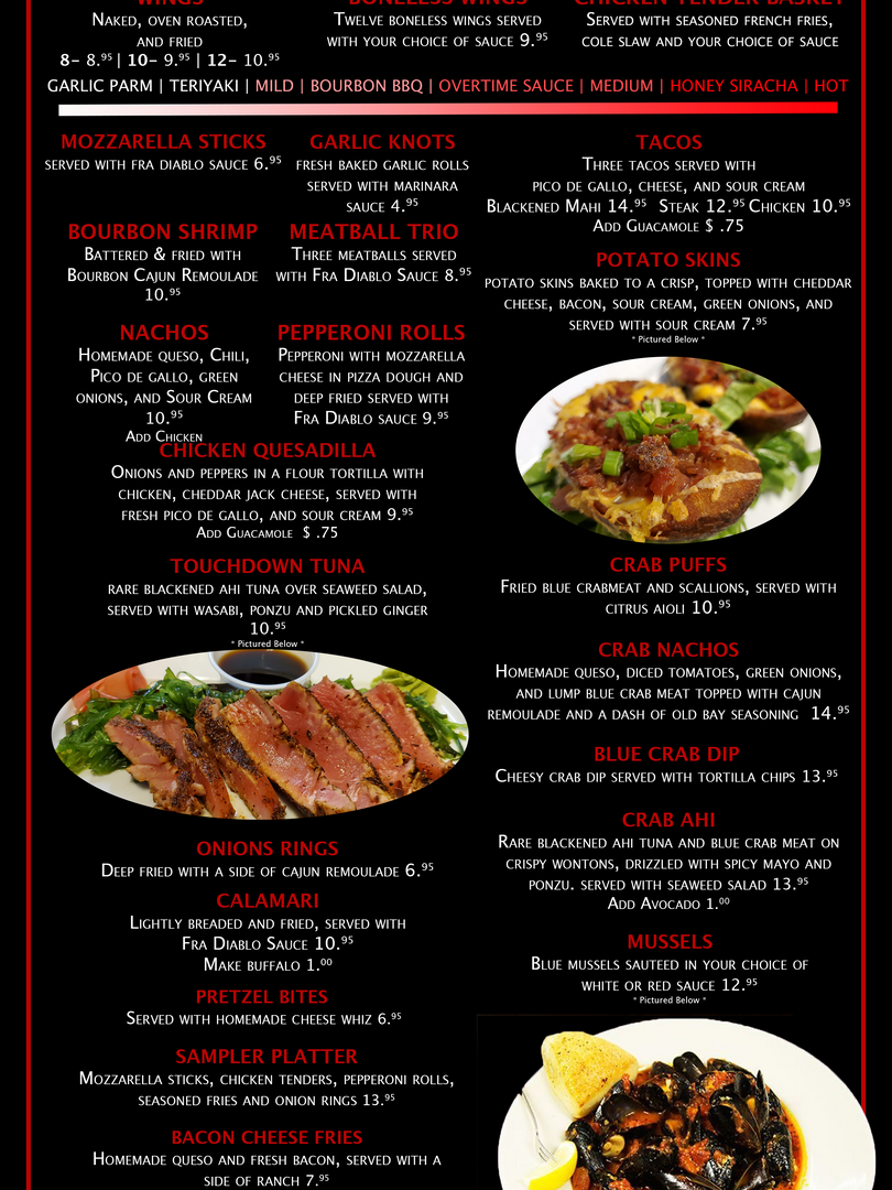 Overtime Menu Page 1