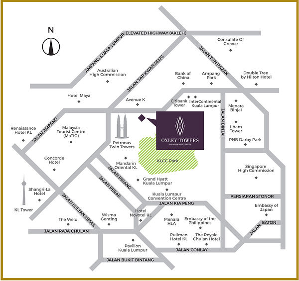 Location map of Oxley Towers KL