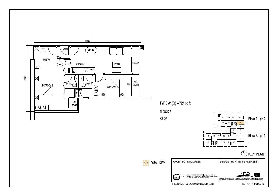 The Luxe Floor Plan Type A1(G) 727sqft