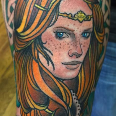 Colour Celtic Warrior Tattoo