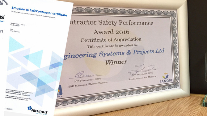 Safe Contractor Accreditation & ESP are SANOFI Safety Performance Award Winners