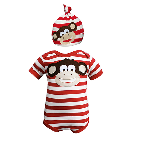 Monkey Bodysuit & Hat Set