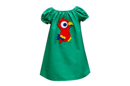 Handmade Parrot Peasant Dress