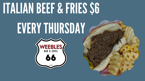 ITALIAN BEEF & FRIES $6 EVERY THURSDAY.p