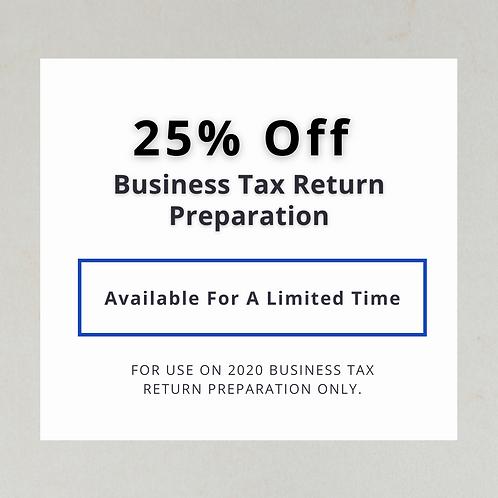 25% Off Business Tax Return Preparation