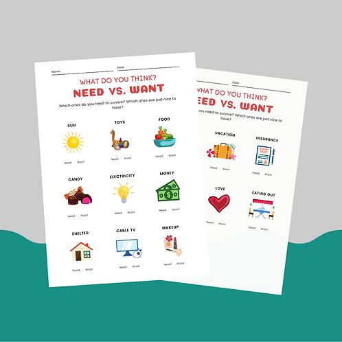 Need Vs. Want: Children's Worksheet