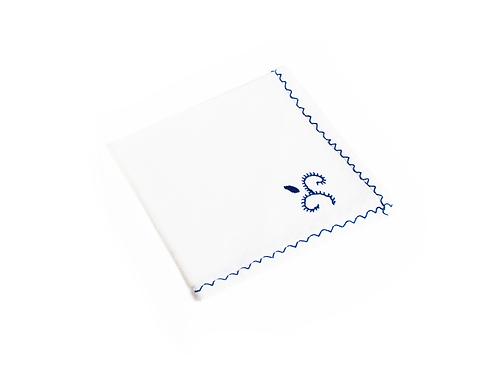 Guardanapos Linho Branco Bordado Azul