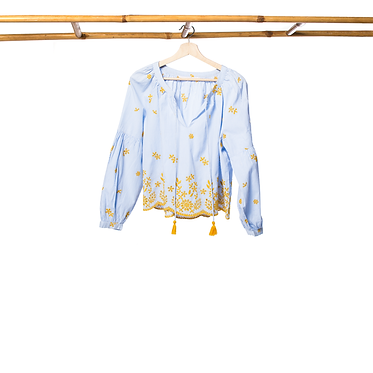 Camisa azul c/ bordados