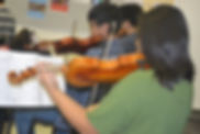 Violin students in class.