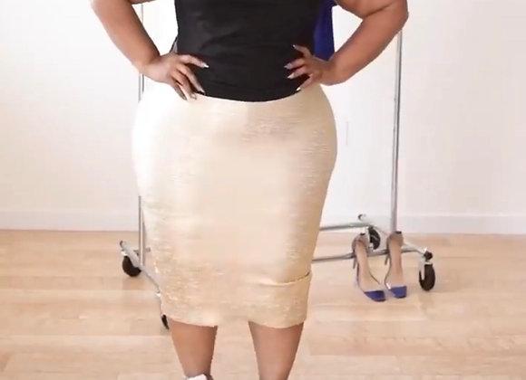 gold metallic bandage skirt