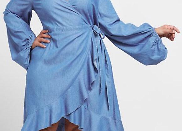 blue jean ruffle dress