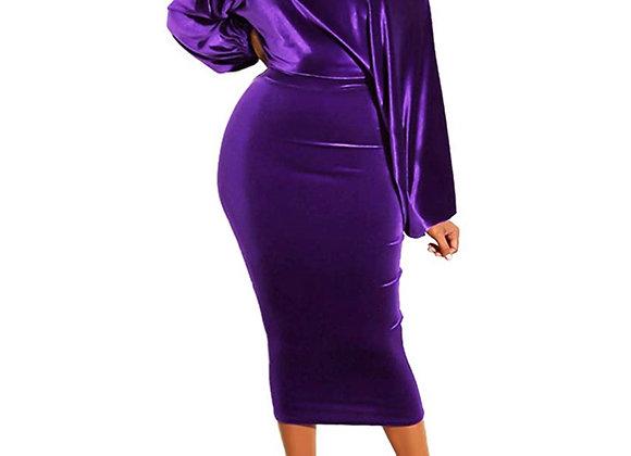 luxe stretch velvet midi dress