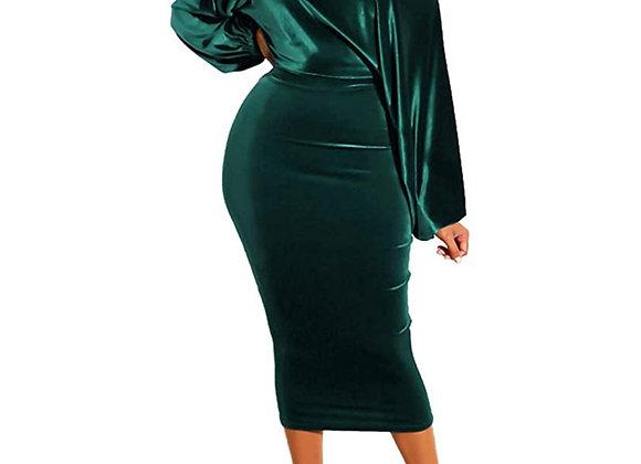 luxe velvet emerald midi dress