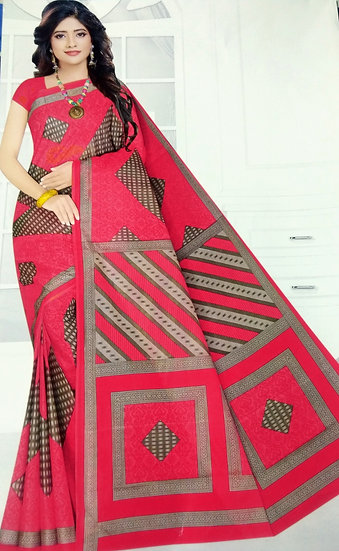 WOMEN'S PRINTED COTTON SAREE WITHOUT BLOUSE PIECE