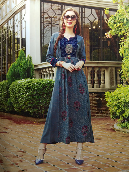 COTTON KURTI - WOMEN'S ETHNIC STEEL BLUE DESIGNER LONG KURTI
