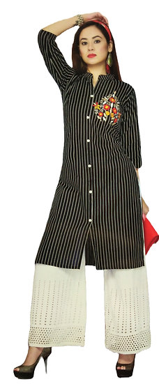 COTTON KURTI - BLACK STRIPED KURTI WITH WHITE SCHIFFLI EMBROIDERY PLAZO