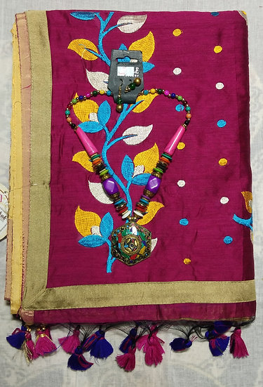HANDLOOM COTTON SAREE - TWIN COLOR COMBINATION (GOLDEN & MAROON) WITH BLOUSE PCS