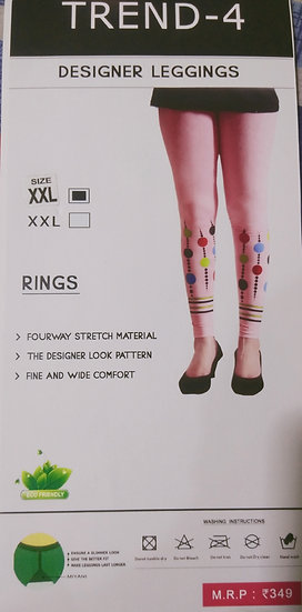 PINK TREND DESIGNER LEGGINGS STRETCHABLE PATTERN DESIGN
