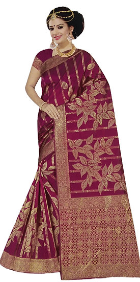 OPARA SILK MAGENTA PURPLE WEAVING KORA DESIGN SAREE WITH BLOUSE PIECE
