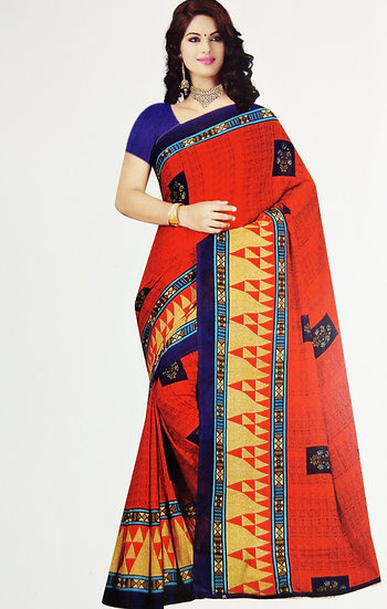 RED TEMPLE BORDER CHIFFON SAREE WITH BLOUSE PIECE