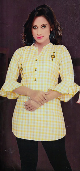 COTTON TOP - CHECKED ANGEL SLEEVES