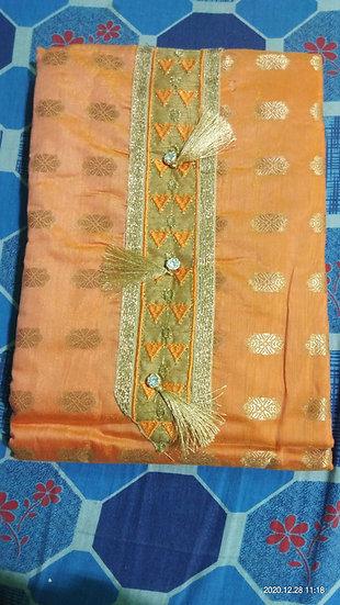 Cotton Suit Piece Golden color semi stitched