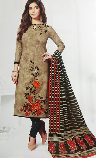 LIGHT BROWN PRINTED FINE COTTON UNSTITCHED SALWAR SUIT PIECE WITH DUPATTA
