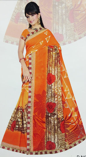 ORANGE CHIFFON BLOOMING FLOWER PRINTED SAREE