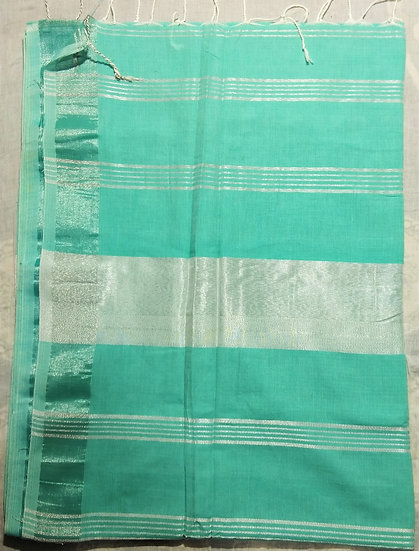 KHADI COTTON-MINT GREEN SILVER WORK SAREE WITH BLOUSE PIECE