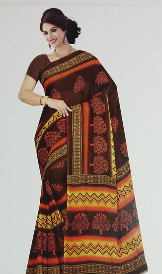 DEEP BROWN BLOOMING FLOWER TREE PRINTED CHIFFON SAREE WITH BLOUSE PIECE