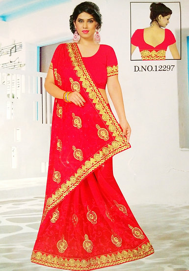 CANDY RED PEARL STONE & JARI WORK FINE CHIFFON SAREE WITH BLOUSE PIECE