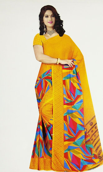 YELLOW COLOR RED AND BLUE PRINTED BORDER CHIFFON SAREE WITH BLOUSE PIECE