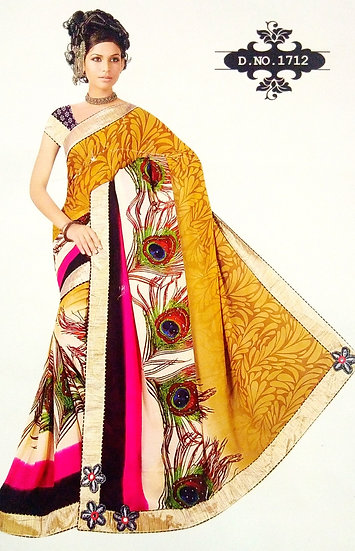 GOLDFINCH YELLOW FEATHER STYLE DIGITAL PRINT CHIFFON SAREE WITH BLOUSE PIECE