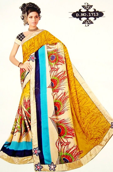 GOLDFINCH YELLOW FEATHER STYLE DIGITAL PRINT CHIFFON SAREE WITH BLOUSE P