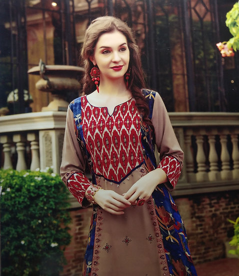 COTTON KURTI - WOMEN'S ETHNIC LIGHT BROWN DESIGNER LONG KURTI