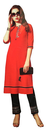 RED CALF LENGTH THREE QUARTER EMBROIDERY DESIGNER RAYON KURTI-PANT SET
