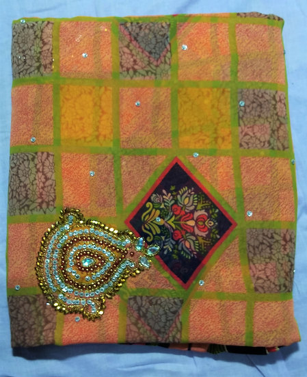 ORANGE CHIFFON GEORGETTE BOX PRINT PEARL STONE WORK SAREE