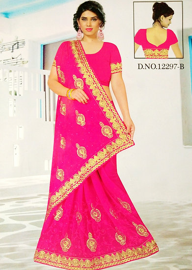 HOT PINK PEARL STONE & JARI WORK FINE CHIFFON SAREE WITH BLOUSE PIECE