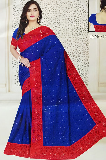ROYAL BLUE PEARL WORK RED NET BORDER CHIFFON SAREE WITH BLOUSE PIECE