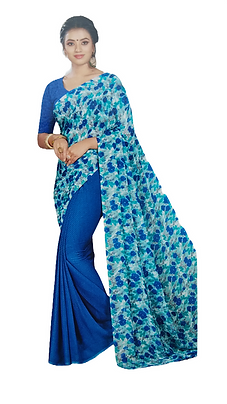 CHIFFON GEORGETTE TWIN COLOR COMBINED BLOOMING FLORAL PRINTED SAREE WITH BLOUSE