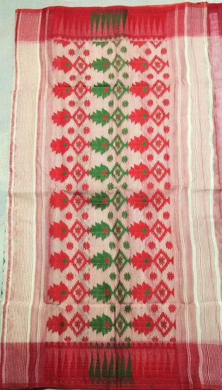 DHAKAI JAMDANI SAREE (WHITE, RED & GREEN)  WOVEN INTRICATE WORK