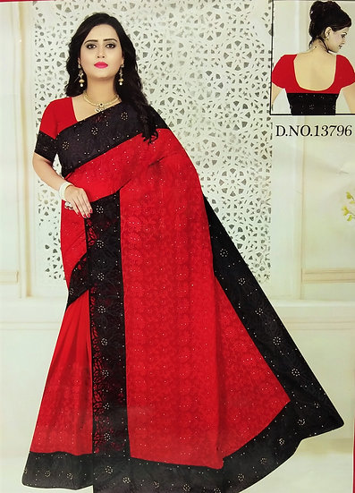 RED PEARL WORK BLACK NET BORDER CHIFFON SAREE WITH BLOUSE PIECE