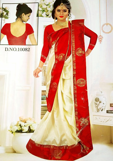 TRADITIONAL BENGALI SANA SILK SAREE - CREAM BODY & RED BORDER WITH BLOUSE PIECE