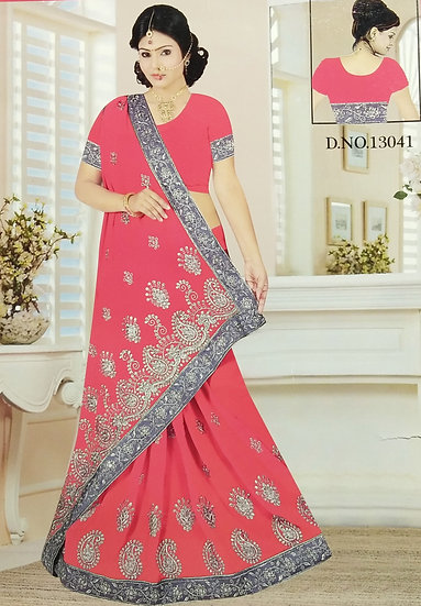 PARTY WEAR - RED CHIFFON SILVER JARI & BEADS WORK SAREE WITH BLOUSE PIECE