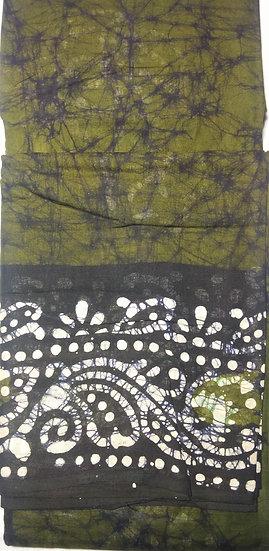 MALAI COTTON SAREE - GREEN & BLACK BATIK PRINT COTTON SAREE WITHOUT BLOUSE PIECE