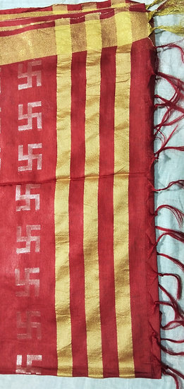 LINEN FABRIC-MAROON SILVER SWASTIK WORK SAREE WITH BLOUSE PIECE