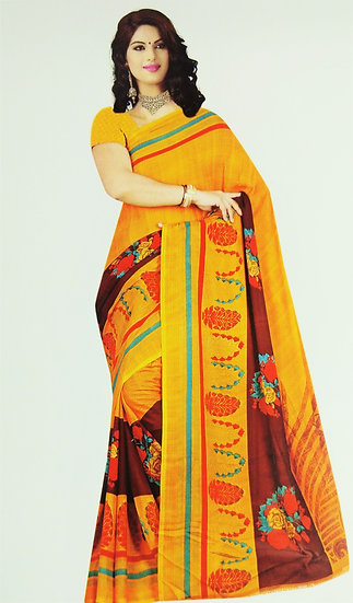 YELLOW BLOOMING FLOWER PRINTED CHIFFON SAREE WITH BLOUSE PIECE