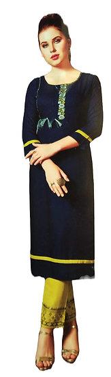 NAVY BLUE CALF LENGTH THREE QUARTER EMBROIDERY DESIGNER RAYON KURTI-PANT SET