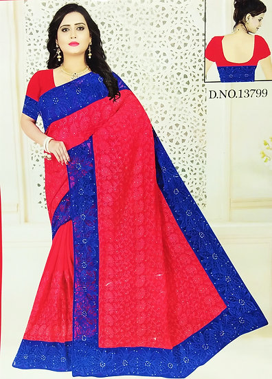 RED PEARL WORK BLUE NET BORDER CHIFFON SAREE WITH BLOUSE PIECE